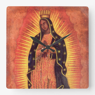Vintage Religion, Virgin Mary, Lady of Guadalupe Square Wall Clock