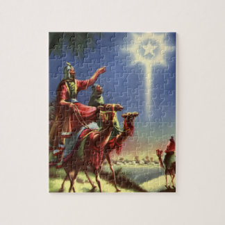 Vintage Religion, Wise Men with Star of Bethlehem Jigsaw Puzzle