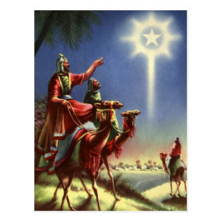 Vintage Religion, Wise Men with Star of Bethlehem Postcard