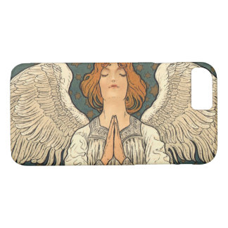 Vintage Religious Angel Praying with Gold Stars iPhone 8/7 Case