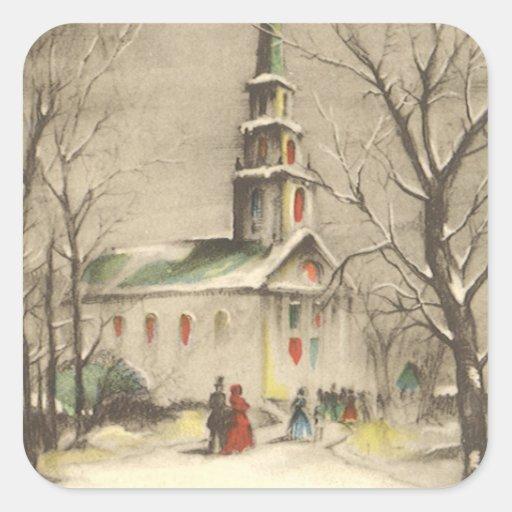 Vintage Religious Christmas, Church, Snow, Winter Sticker