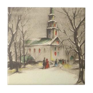 Vintage Religious Christmas, Church, Snow, Winter Ceramic Tile