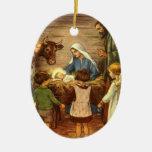 Vintage Religious Christmas, Nativity, Baby Jesus Double-Sided Oval Ceramic Christmas Ornament