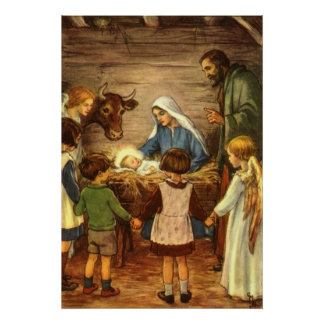 Vintage Religious Christmas Nativity Baby Jesus Posters