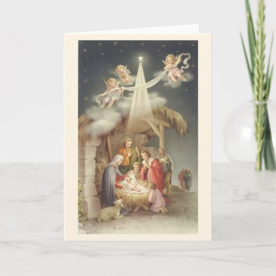 Vintage Religious Nativity Christmas Ornament: Vintage Religious Christmas Nativity Greeting Card