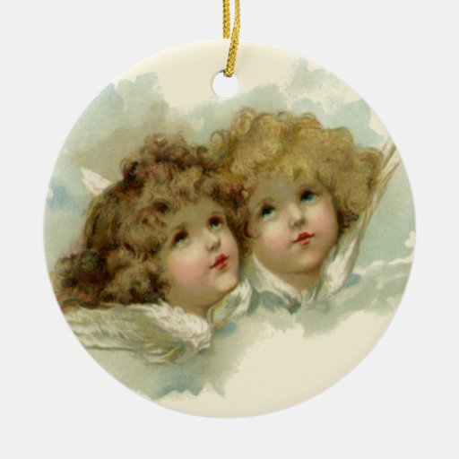 Vintage Religious Christmas, Victorian Angels Christmas Ornament