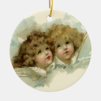 Vintage Religious Easter, Victorian Angels Round Ceramic Ornament
