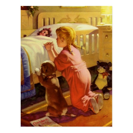 Vintage Religious Girl Praying Pet Dog at Bedtime Postcard