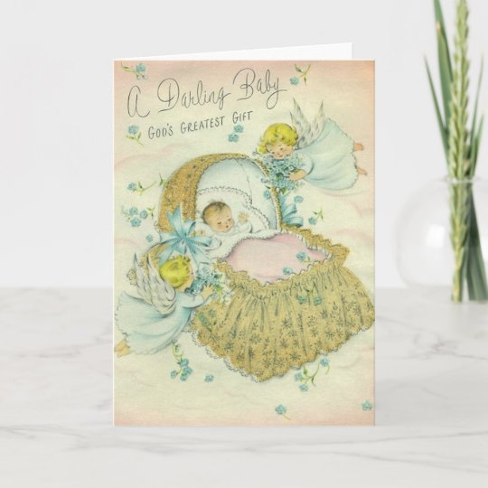 Vintage Religious New Baby Greeting Card
