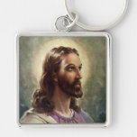 Vintage Religious People, Portrait of Jesus Christ Silver-Colored Square Key Ring