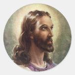 Vintage Religious People, Portrait of Jesus Christ Classic Round Sticker