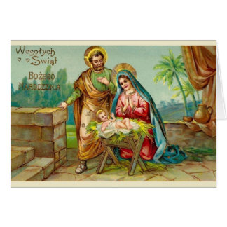 Vintage Religious Polish Christmas Card