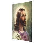 Vintage Religious Portrait, Jesus Christ with Halo Canvas Print