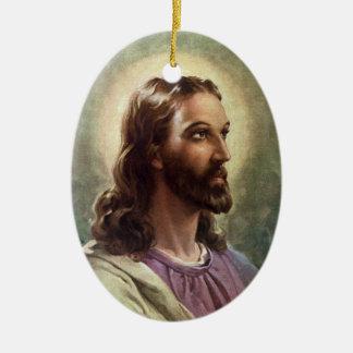 Vintage Religious Portrait, Jesus Christ with Halo Ceramic Oval Decoration