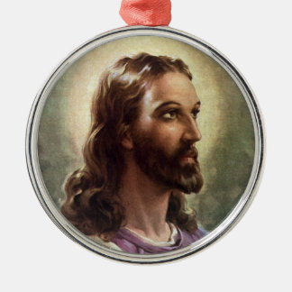 Vintage Religious Portrait, Jesus Christ with Halo Christmas Ornament