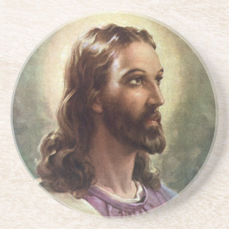 Vintage Religious Portrait, Jesus Christ with Halo Coaster
