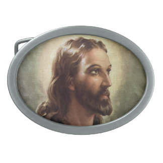 Vintage Religious Portrait, Jesus Christ with Halo Oval Belt Buckle