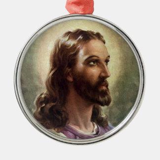 Vintage Religious Portrait, Jesus Christ with Halo Silver-Colored Round Decoration
