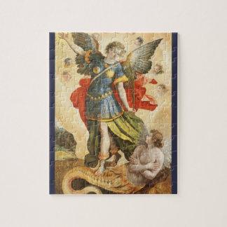 Vintage Religious, Saint Michael Defeats Lucifer Jigsaw Puzzle