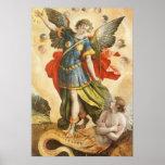 Vintage Religious, Saint Michael Defeats Lucifer Poster