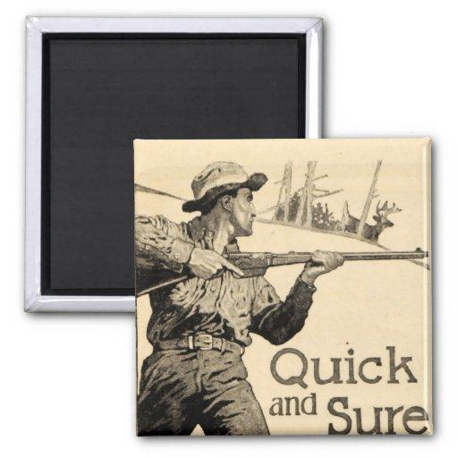 Vintage Remington Rifle Quick Sure Gun Ad Magnet