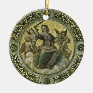 Vintage Renaissance Art, Justice by Raphael Round Ceramic Decoration