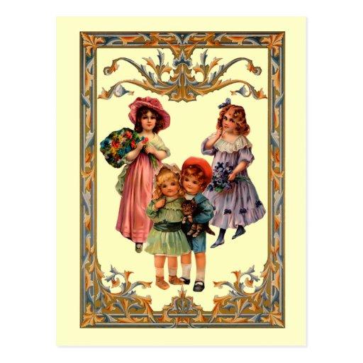 Vintage Reproduction Victorian Children Postcard