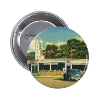 Vintage Restaurant, 50s Drive In Diner and Cars Pinback Button