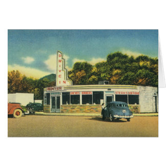 Vintage Restaurant, 50s Drive In Diner and Cars Card