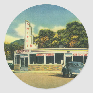 Vintage Restaurant, 50s Drive In Diner and Cars Classic Round Sticker