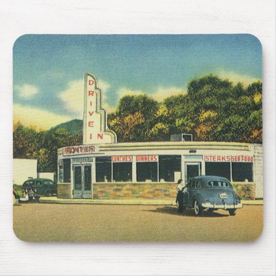 Vintage Restaurant, 50s Drive In Diner and Cars Mouse Mat