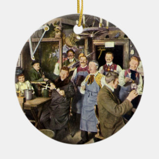 Vintage Restaurant Bar People Celebrating Party Christmas Ornament