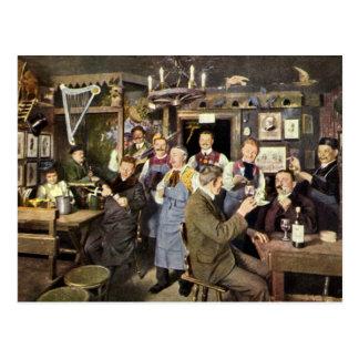 Vintage Restaurant Bar People Celebrating Party Postcard