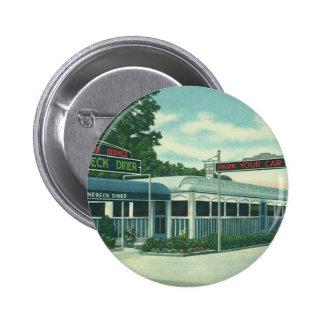 Vintage Restaurant, Retro Rhinebeck Roadside Diner 6 Cm Round Badge