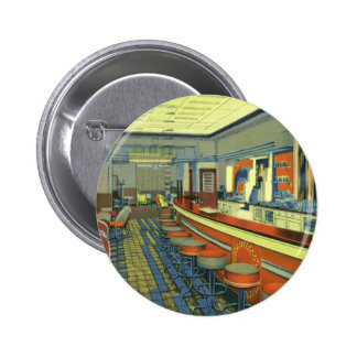 Vintage Restaurant, Retro Roadside Diner Interior 6 Cm Round Badge