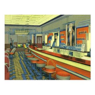 Vintage Restaurant, Retro Roadside Diner Interior Postcard