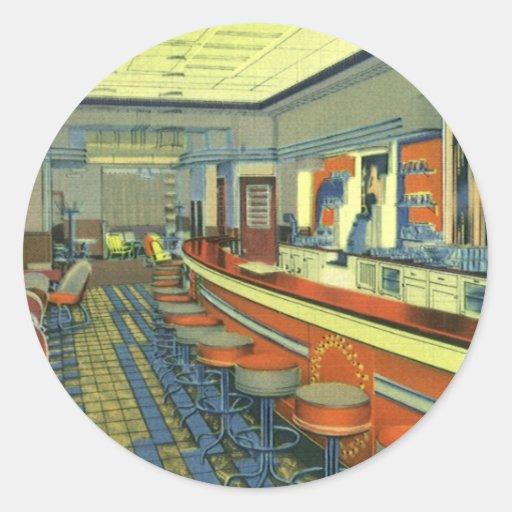 Vintage Restaurant, Retro Roadside Diner Interior Round Stickers