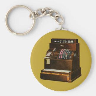 Vintage Retail Business, Antique Cash Register Basic Round Button Key Ring