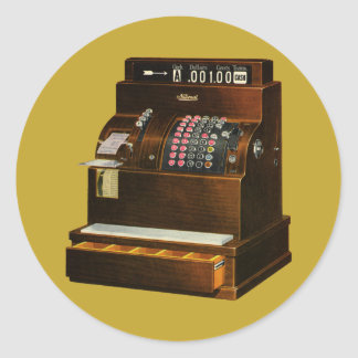 Vintage Retail Business, Antique Cash Register Classic Round Sticker
