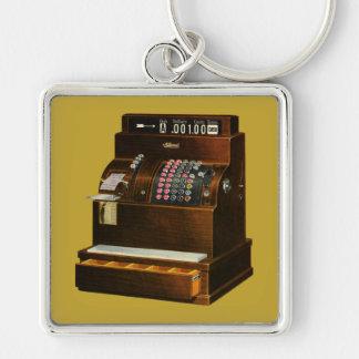 Vintage Retail Business, Antique Cash Register Silver-Colored Square Key Ring