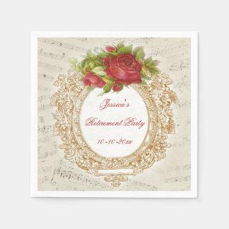 Vintage Retirement Red Rose Frame Music Sheet Disposable Napkin
