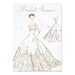 Vintage Retro 1950's Bride and Gown Bridal Shower 13 Cm X 18 Cm Invitation Card