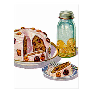 Vintage Retro 20s Baking Cookbook Art Plum Pie Postcard