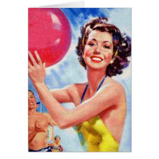 Vintage Retro 60s Beach Ball Girl Kitsch Greeting Card