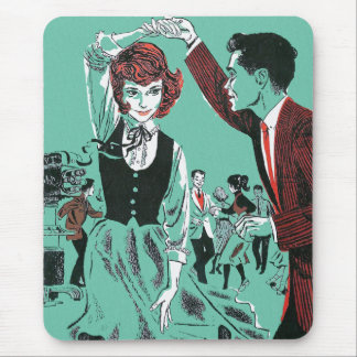 Vintage Retro 60s Teens Dancing Kitsch Book Art Mouse Pad
