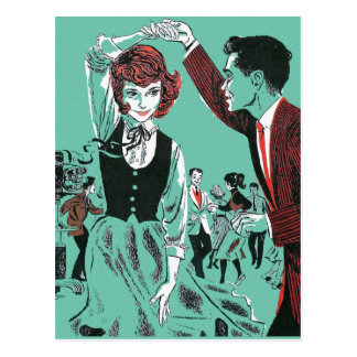 Vintage Retro 60s Teens Dancing Kitsch Book Art Postcard