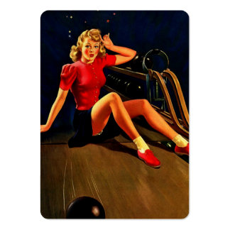 Vintage Retro Al Buell Bowling Pin-up Girl Business Card Template