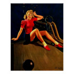 Vintage Retro Al Buell Bowling Pin-up Girl Poster