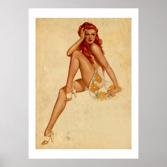 Vintage Retro Alberto Vargas Redhead Pin Up Girl