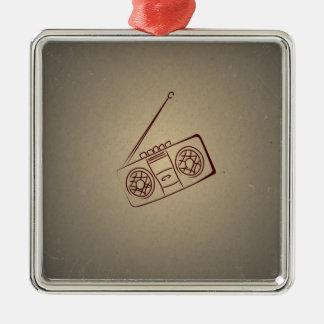Vintage Retro Audio Cassette Player. Antique Paper Christmas Tree Ornaments